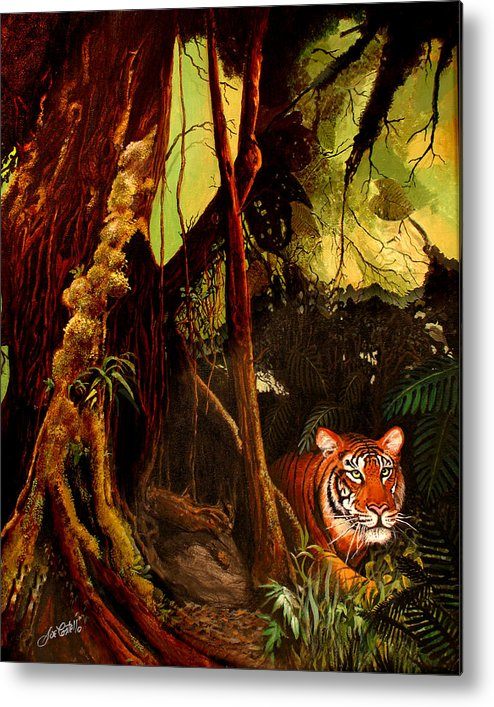 Jungle Metal Print featuring the painting Jungle Cat by Joe Costello