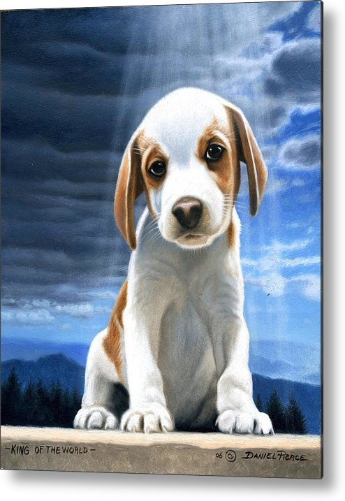 Dog Beagle Puppy Sunray Painting Original Blue Sky Metal Print featuring the painting King Of The World-beagle Puppy by Daniel Pierce