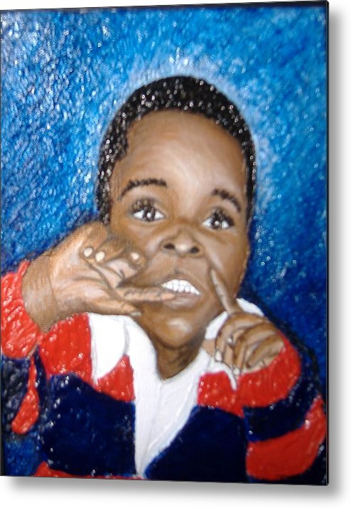 Acrylic Metal Print featuring the painting Little Boy Blue by Keenya Woods
