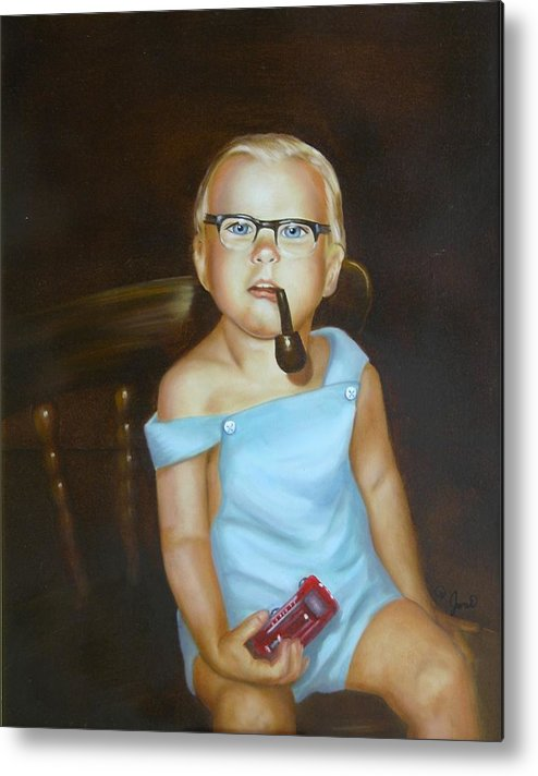 Portrait Metal Print featuring the painting Little Firefighter by Joni McPherson