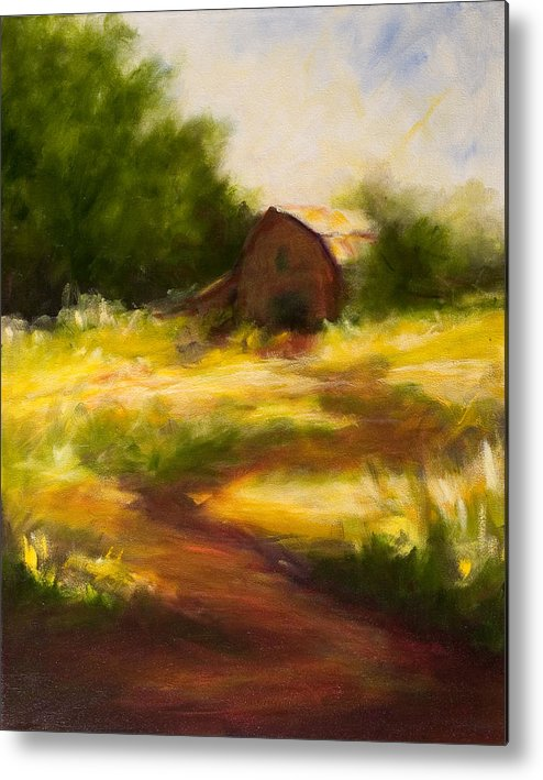 Landscape Metal Print featuring the painting Long Road Home by Shannon Grissom