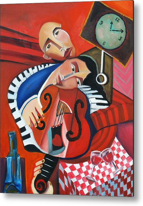 Love Woman Man Time Red Music Violin Piano Wine Romance Cubism Cubist Figurative Abstract Metal Print featuring the painting Love's Melody by Niki Sands