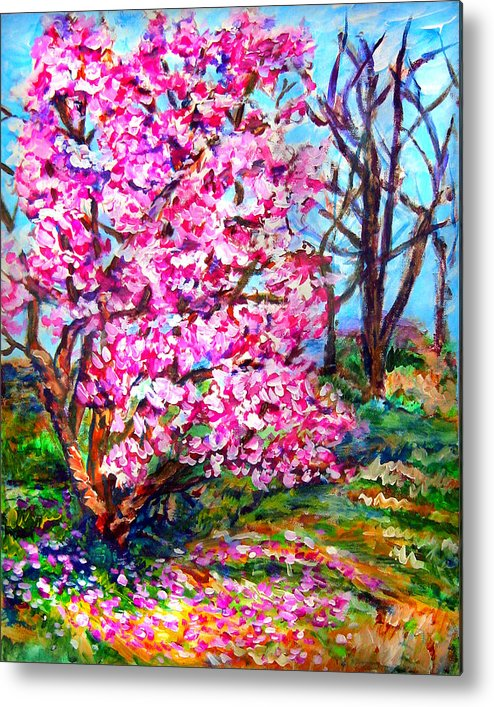 Landscape Metal Print featuring the painting Magnolia - Early Spring by Laura Heggestad