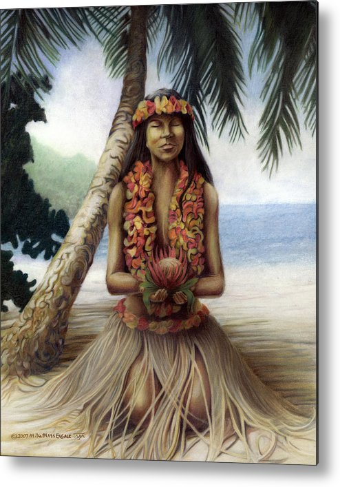 Tropical Art Metal Print featuring the drawing Mahalo by Mike Massengale
