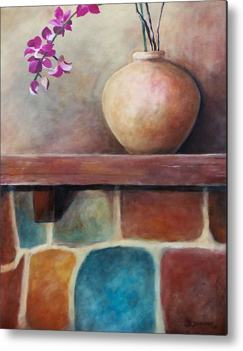 Mantel Metal Print featuring the painting Mantel Beauty by Jun Jamosmos