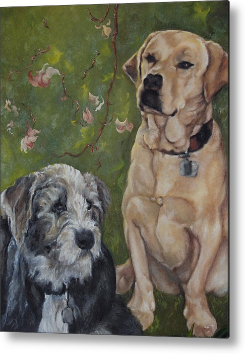 Dogs Metal Print featuring the painting Max And Molly by Stephanie Broker