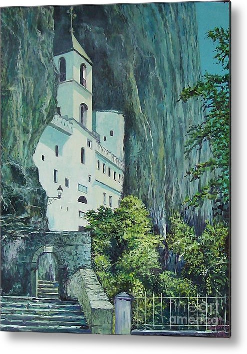 Architecture Metal Print featuring the painting Monastery Ostrog Montenegro by Sinisa Saratlic