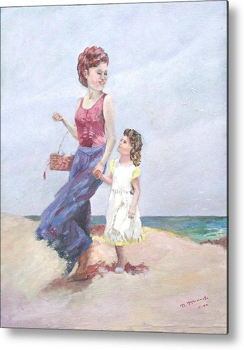 Mother Metal Print featuring the painting Mother And Daughter At The Beach by Nicholas Minniti
