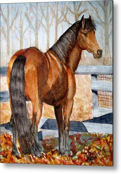 Morgan Metal Print featuring the painting Mystic In Her Paddock by Cheryl Dodd