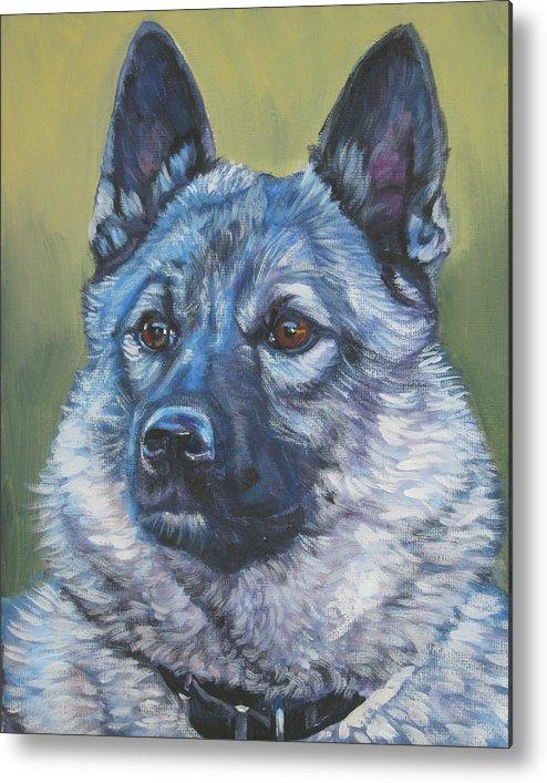 Norwegian Elkhound Metal Print featuring the painting Norwegian Elkhound by Lee Ann Shepard