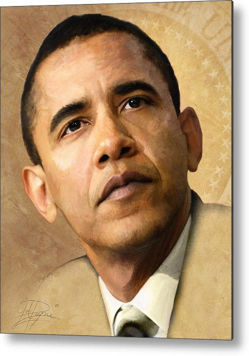 Norman Rockwell Metal Print featuring the painting Obama by Joel Payne