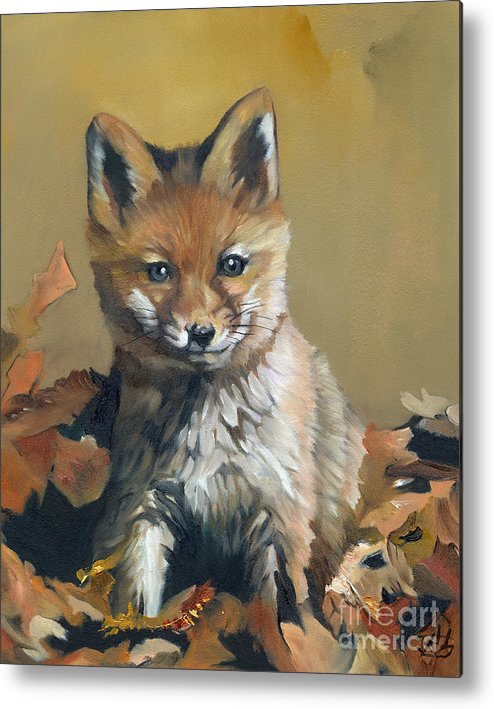 Fox Metal Print featuring the painting Once Upon A Time by J W Baker