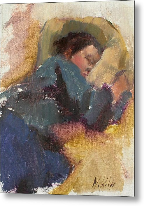 Figurative Metal Print featuring the painting Pam Resting by Merle Keller