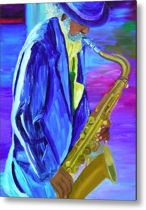 Street Musician Metal Print featuring the painting Playing The Blues by Michael Lee