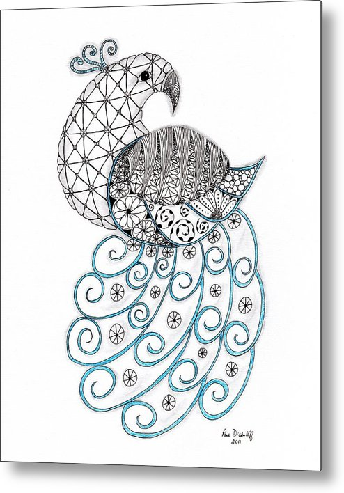 Peacock Metal Print featuring the drawing Pretty Peacock by Paula Dickerhoff