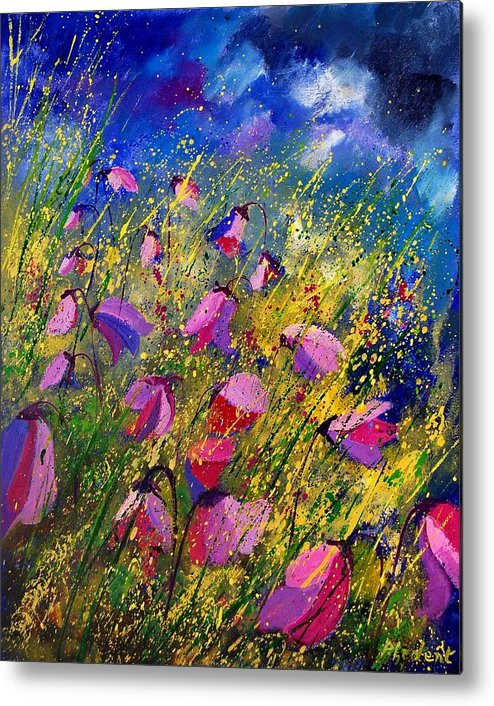 Poppies Metal Print featuring the painting Purple Wild Flowers by Pol Ledent
