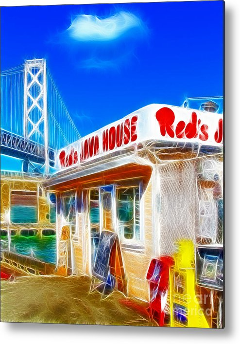 San Francisco Metal Print featuring the photograph Red's Java House Electrified by Wingsdomain Art and Photography