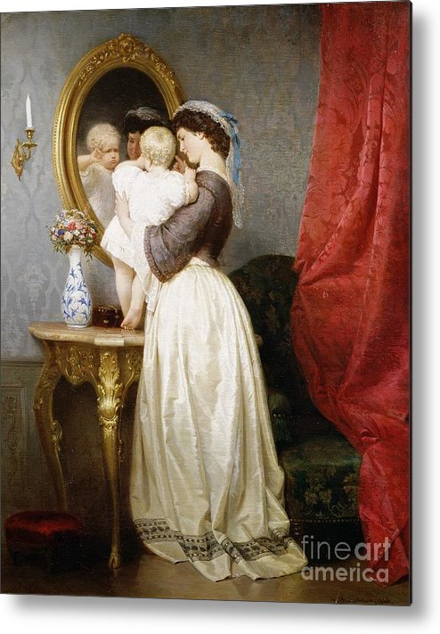 Reflections Metal Print featuring the painting Reflections Of Maternal Love by Robert Julius Beyschlag