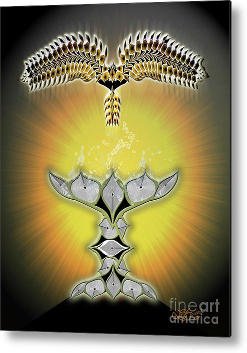Bird Metal Print featuring the digital art Refreshed Bird by Linda Seacord