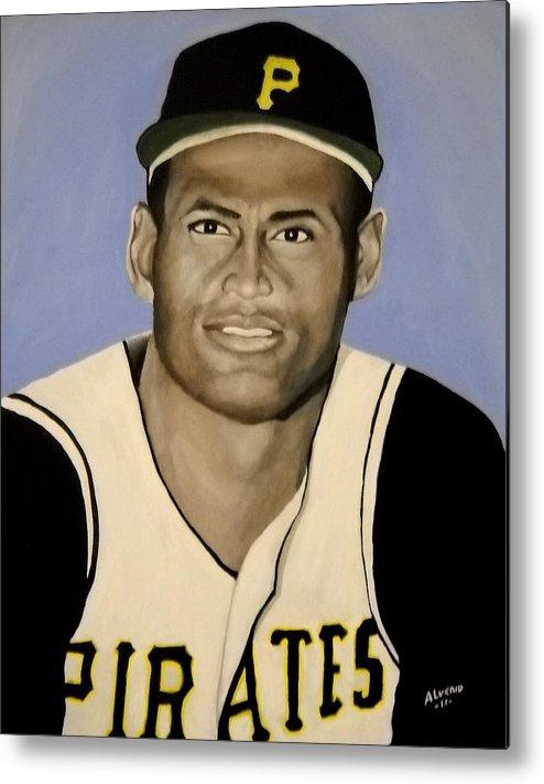 Roberto Metal Print featuring the painting Roberto Clemente by Edwin Alverio