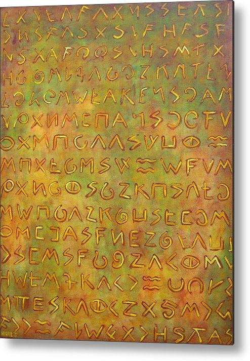 Symbolic Metal Print featuring the painting Scripture by Hiske Tas Bain