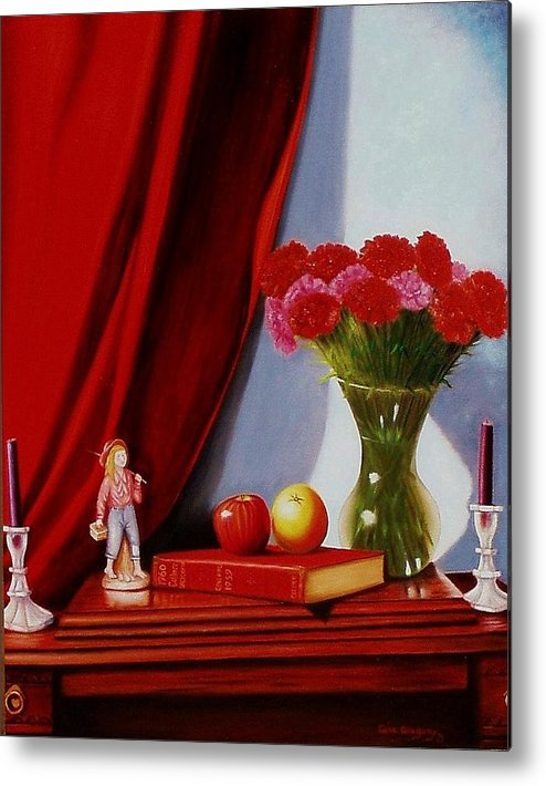Still Life Metal Print featuring the painting Sewing Carnations by Gene Gregory