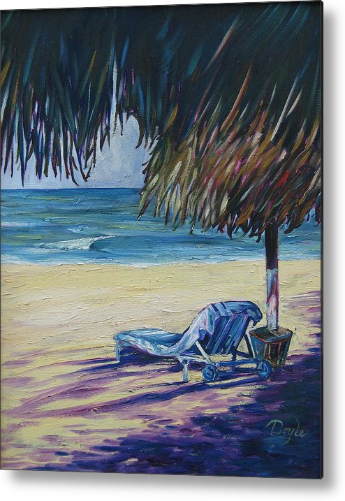 Beach Metal Print featuring the painting Shady Beach by Karen Doyle