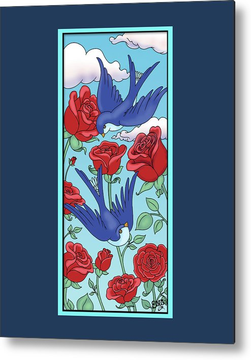 Birds Metal Print featuring the digital art Swallows And Roses by Eleanor Hofer
