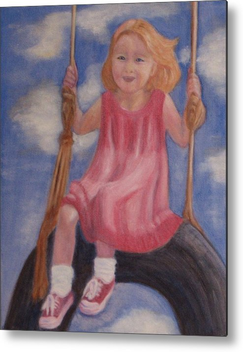 Child Metal Print featuring the painting Swingin by Patricia Ortman