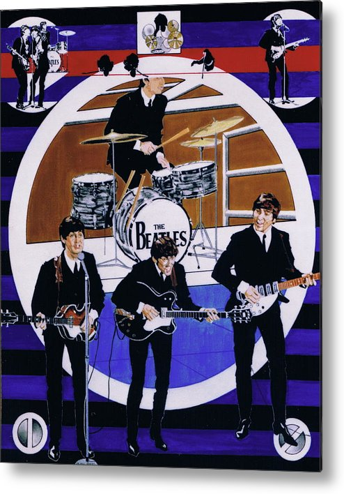 1960s Metal Print featuring the drawing The Beatles - Live On The Ed Sullivan Show by Sean Connolly
