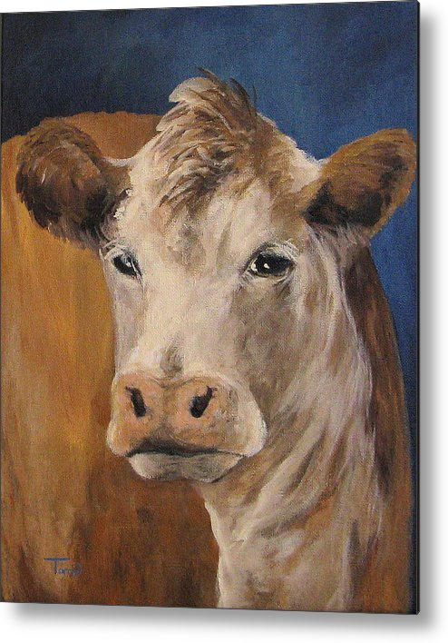 Cow Metal Print featuring the painting The Cow by Torrie Smiley