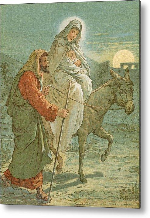 Bible; The Flight Into Egypt; Donkey; Jesus Christ; Baby; Joseph; Virgin Mary; Night; Desert Metal Print featuring the painting The Flight Into Egypt by John Lawson