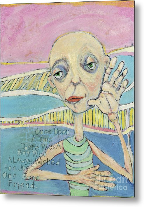 Whimsical Art Metal Print featuring the painting The Friendless Boy by Michelle Spiziri