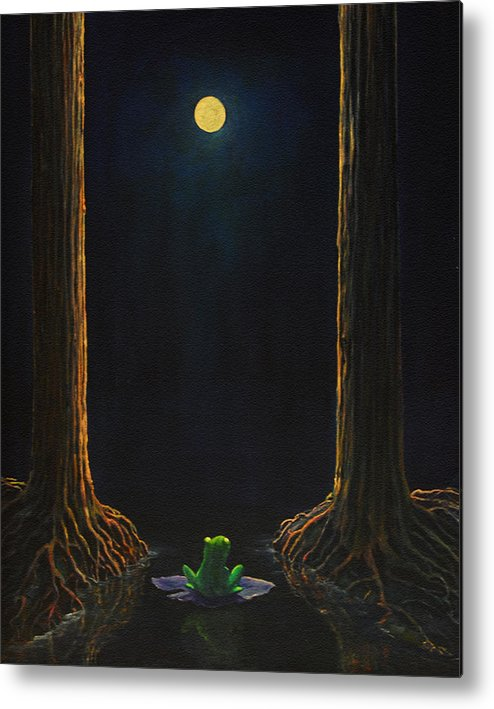 Landscape Animal Frog Trees Mystic Metal Print featuring the painting The Little Frog by Craig shanti Mackinnon