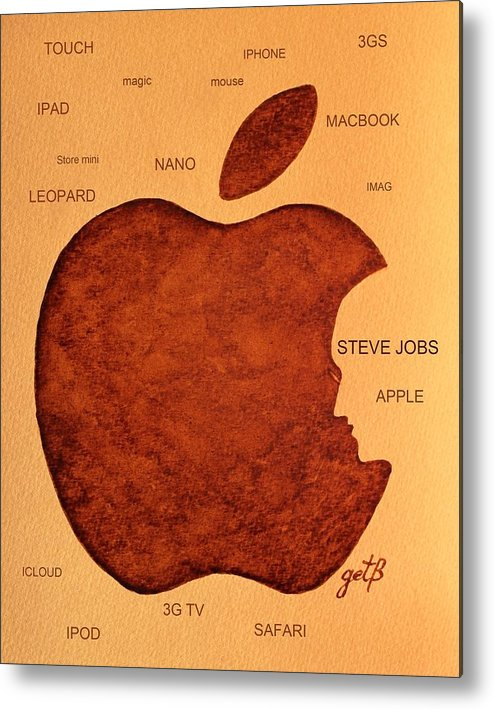 Steve Jobs Tribut Paintings Metal Print featuring the painting Think Different Steve Jobs 2 by Georgeta Blanaru