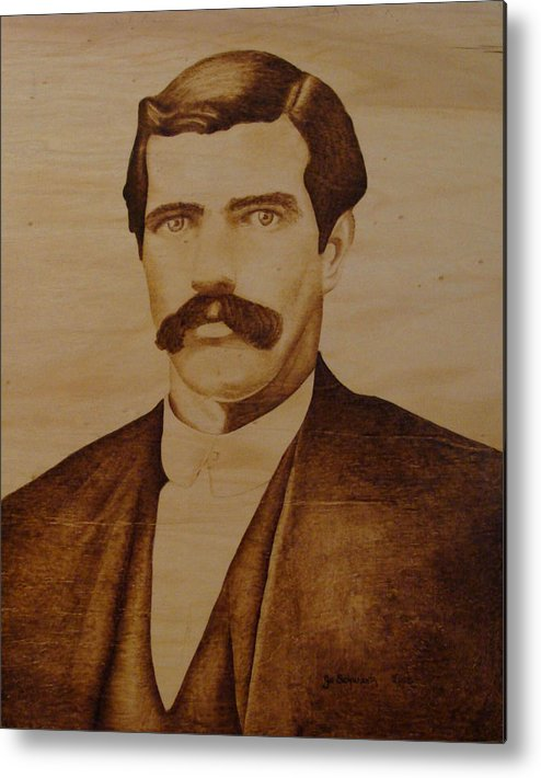 Pyrography; Woodburning; Sepia; Old West; Sheriff; Metal Print featuring the pyrography Tom Smith by Jo Schwartz