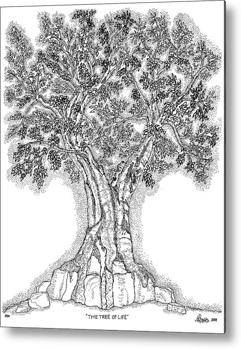Christian Metal Print featuring the drawing Tree Of Life 1 by Glenn McCarthy Art and Photography