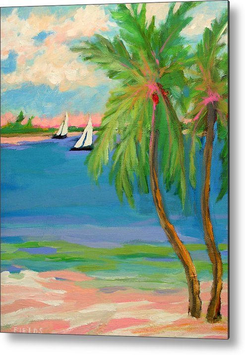 Sailboat Metal Print featuring the painting Tropical Sails by Karen Fields
