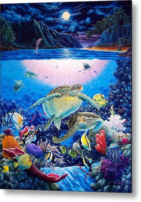 Dolphins Metal Print featuring the painting Turtle Bay by Daniel Bergren