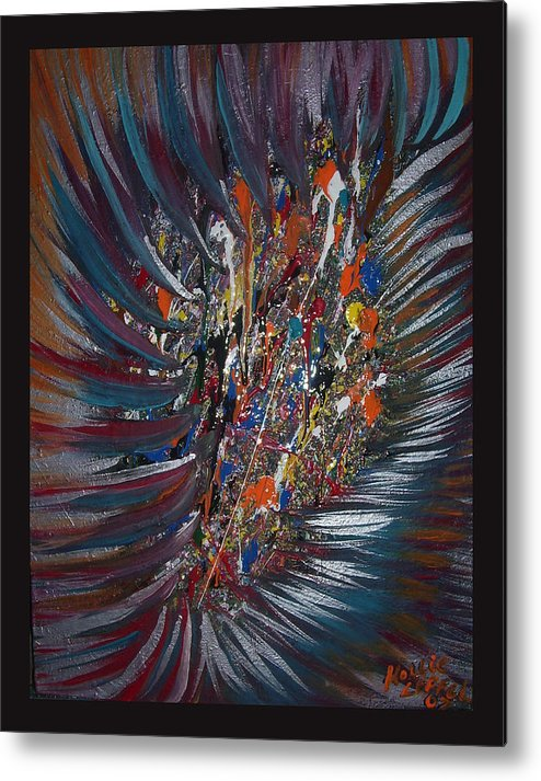 Abstract Metal Print featuring the painting Untitled Abstract by Hollie Leffel