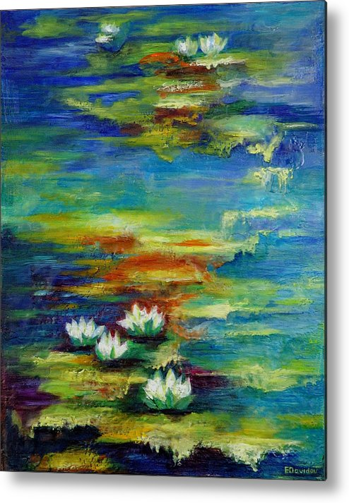 Water Metal Print featuring the painting Water Lilies No 3. by Evgenia Davidov