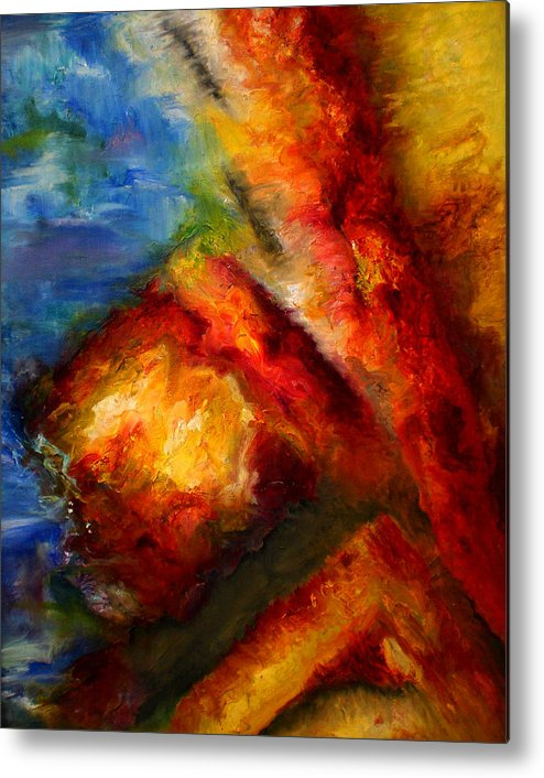 Abstract Metal Print featuring the painting Ways by Lou Ewers