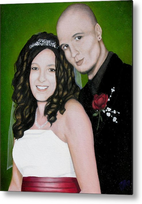 Portrait Metal Print featuring the painting Wedding Portrait Of Clint And Ashley by Joe Michelli