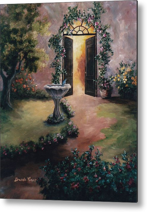 Flower Metal Print featuring the painting Welcoming Light by Brenda Thour
