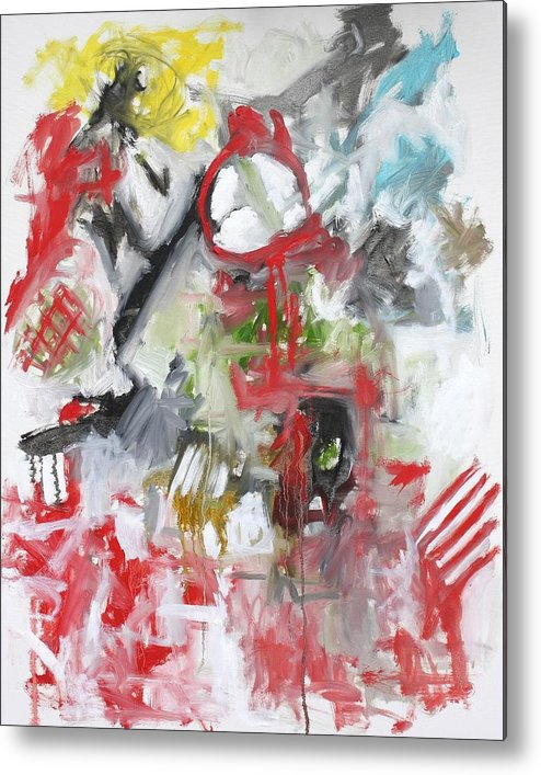 Abstract Metal Print featuring the painting Woman With A Red Comb by Michael Henderson