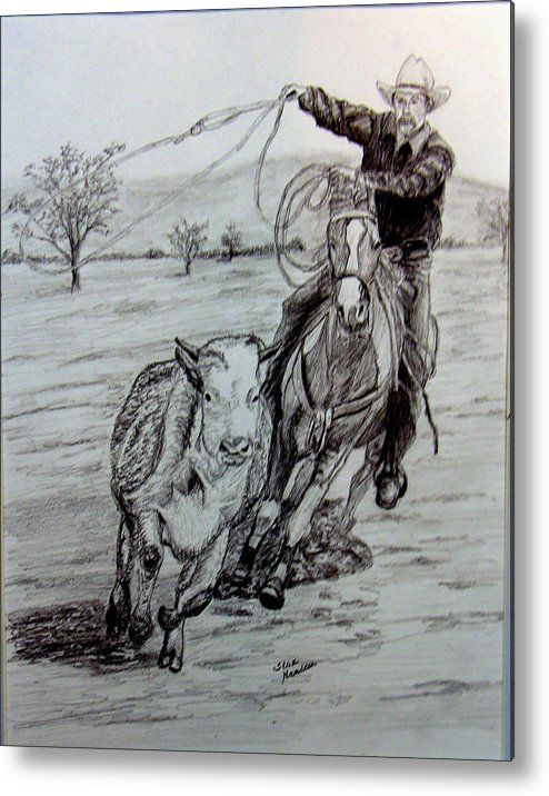 Cowboy Metal Print featuring the drawing Ranch Work by Stan Hamilton