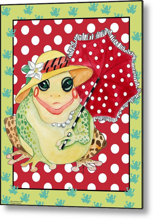 Animals Metal Print featuring the print Miss Belle Frog by Kay Robinson