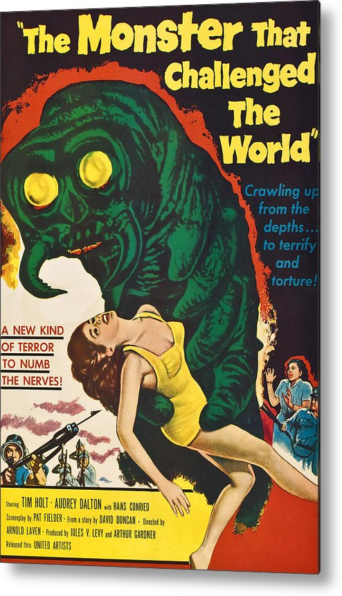 1950s Poster Art Metal Print featuring the photograph The Monster That Challenged The World by Everett