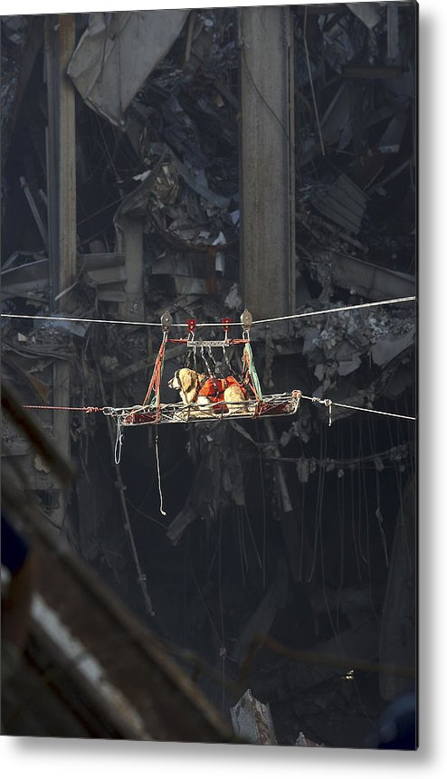 Debris Metal Print featuring the photograph A Rescue Dog Is Transported by Stocktrek Images