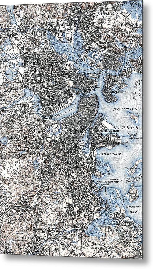1903 Metal Print featuring the photograph Boston Map, 1903 by Granger